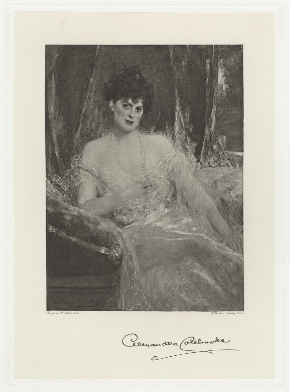 Alexandra Harriet (née Paget), Lady Colebrooke, by Frederick John Jenkins, after  Jean Joseph Benjamin-Constant, (1900) - NPG D34023 - © National Portrait Gallery, London