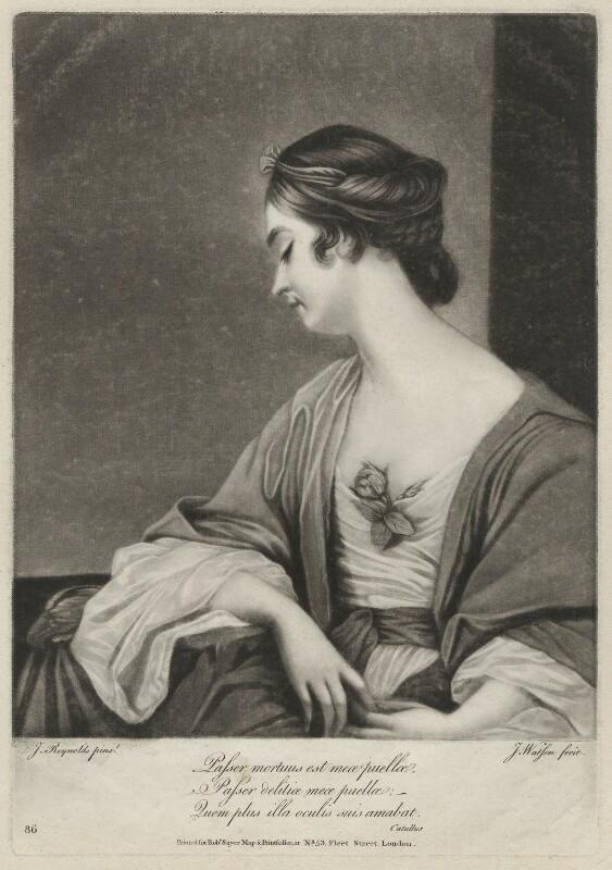 Christiana Collier (née Gwyn), by James Watson, after  Sir Joshua Reynolds, 1764-1790 (1762-1763) - NPG D34044 - © National Portrait Gallery, London