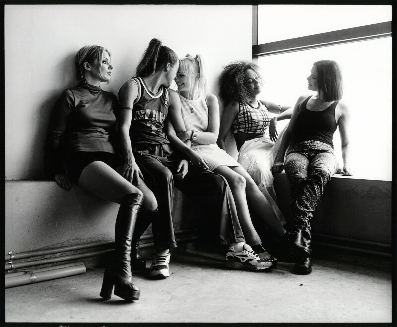 Image result for The Spice Girls (Geri Halliwell; Mel C; Emma Bunton; Mel B; Victoria Beckham) by Harry Borden toned bromide print, October 1996 London's National Portrait Gallery