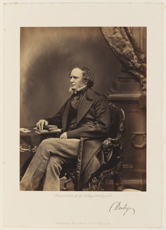 Edward Stanley, 14th Earl of Derby, by John Jabez Edwin Mayall, published by  A. Marion & Co, 1861 - NPG Ax7291 - © National Portrait Gallery, London