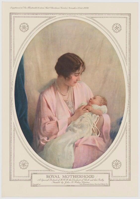 Queen Elizabeth, the Queen Mother; Queen Elizabeth II ('Royal Motherhood'), published by Illustrated London News, after  John St Helier Lander, published 22 November 1926 (1926) - NPG D34125 - © National Portrait Gallery, London