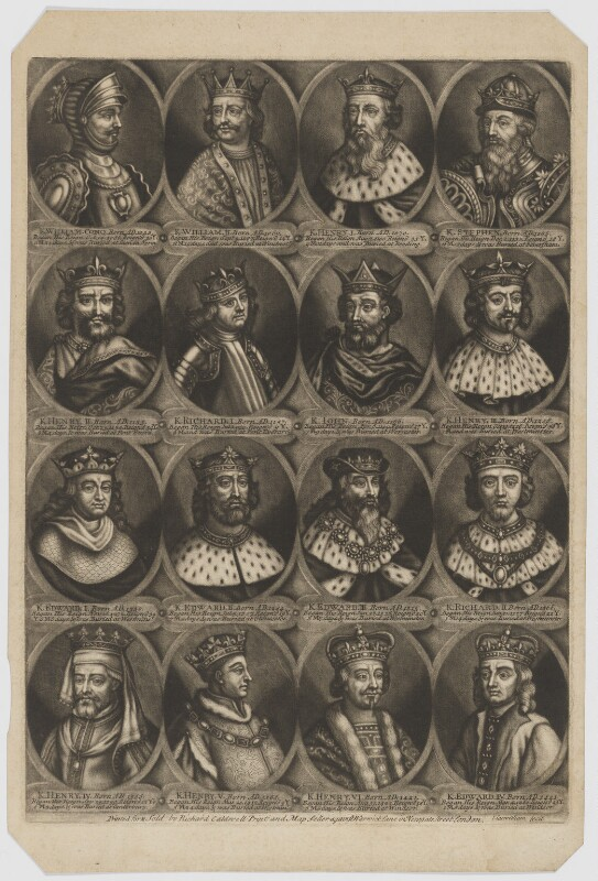 The Sovereigns of England, part 1, by John Carwitham, printed and published by  Richard Caldwell, after  Unknown artist, circa 1723-1741 - NPG D34141 - © National Portrait Gallery, London
