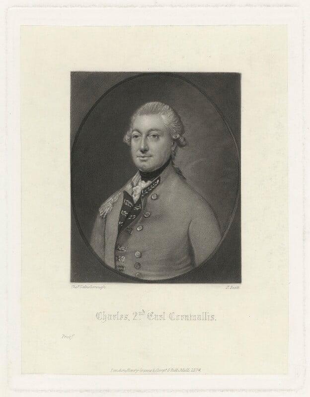 Charles Cornwallis, 1st Marquess Cornwallis, by James Scott, after  Thomas Gainsborough, published 1874 - NPG D34144 - © National Portrait Gallery, London