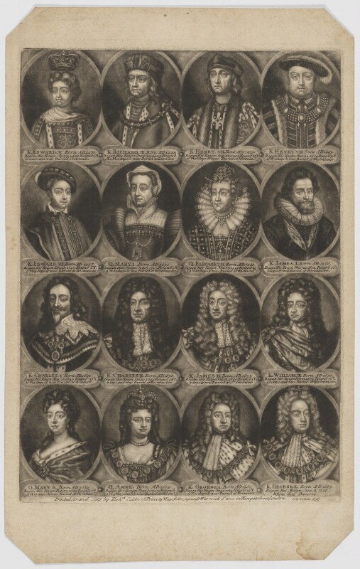 The Sovereigns of England, part 2, by John Carwitham, printed and published by  Richard Caldwell, after  Unknown artist, circa 1723-1741 - NPG D34142 - © National Portrait Gallery, London