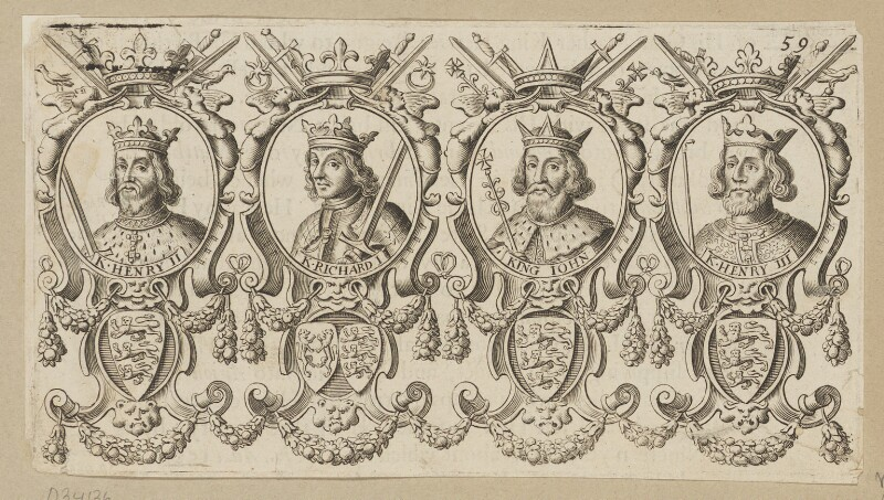 King Henry II; King Richard I ('the Lionheart'); King John; King Henry III, after Unknown artist, published 1677 - NPG D34136 - © National Portrait Gallery, London