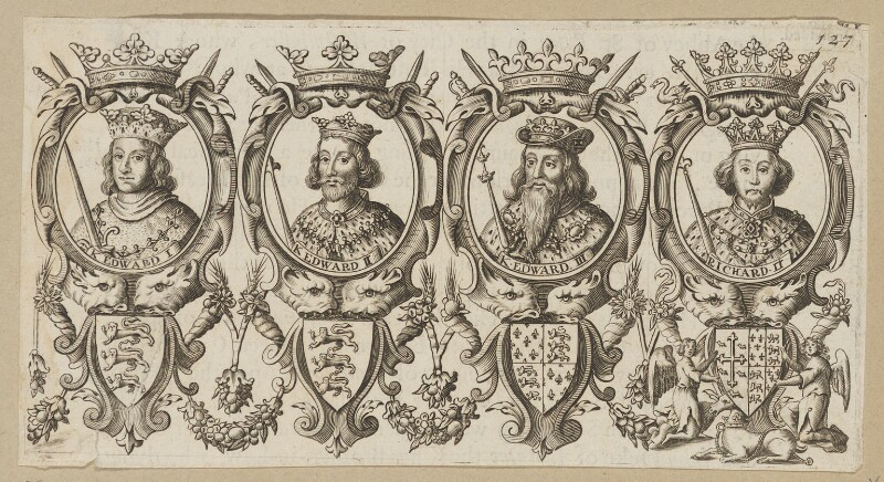 King Edward I; King Edward II; King Edward III; King Richard II, after Unknown artist, published 1677 - NPG D34137 - © National Portrait Gallery, London