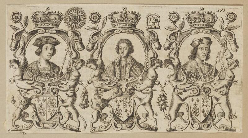King Edward IV; King Edward V; King Richard III, after Unknown artist, published 1677 - NPG D34138 - © National Portrait Gallery, London
