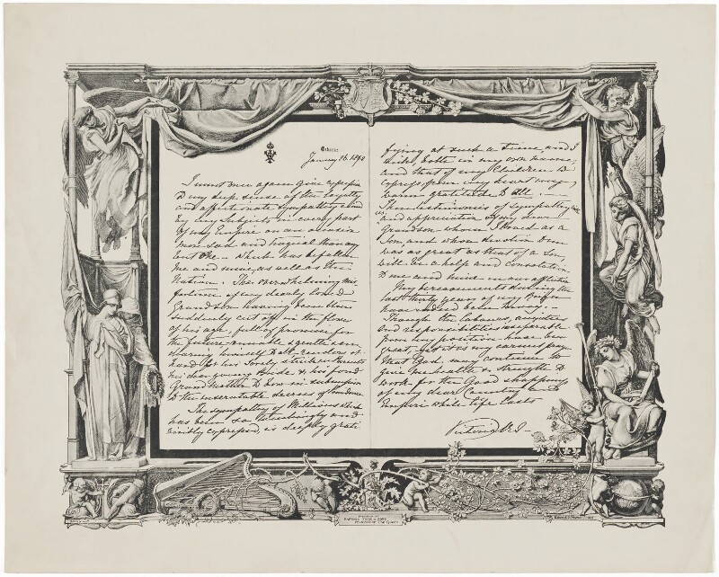 Reproduction of letter from Queen Victoria, published by Raphael Tuck & Sons, after  Queen Victoria, 1892 - NPG D34182 - © National Portrait Gallery, London