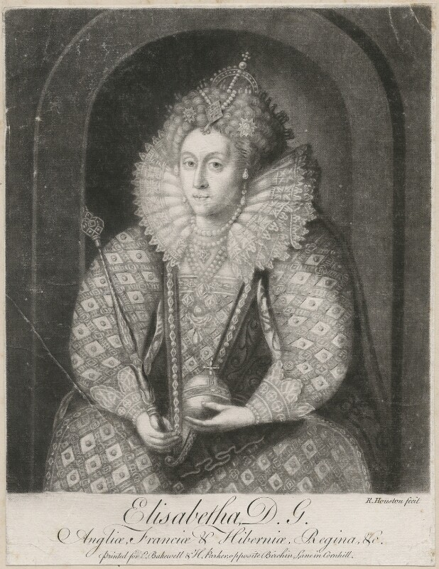 Queen Elizabeth I, by Richard Houston, printed for  Elizabeth Bakewell, printed for  Henry Parker, after  Isaac Oliver, mid 18th century - NPG D9362 - © National Portrait Gallery, London