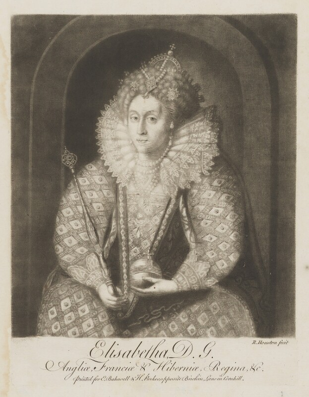 Queen Elizabeth I, by Richard Houston, after  Isaac Oliver, mid 18th century - NPG D9363 - © National Portrait Gallery, London