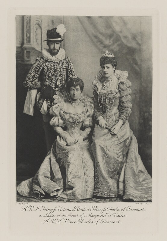 Haakon VII, King of Norway when Prince Charles of Denmark with Maud, Queen of Norway when Princess Charles of Denmark and Princess Victoria of Wales as Ladies of the Court of Marguerite de Valois, by Lafayette, photogravure by  Walker & Boutall, 1897; published 1899 - NPG Ax41007 - © National Portrait Gallery, London