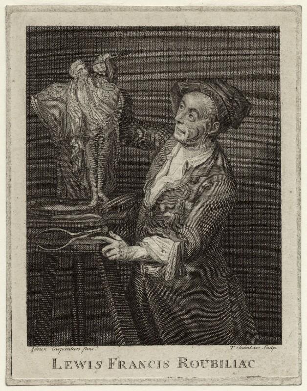 Louis François Roubiliac, by Thomas Chambers (Chambars), after  Adrien Carpentiers (Carpentière, Charpentière), published 1762 (1762) - NPG D34287 - © National Portrait Gallery, London