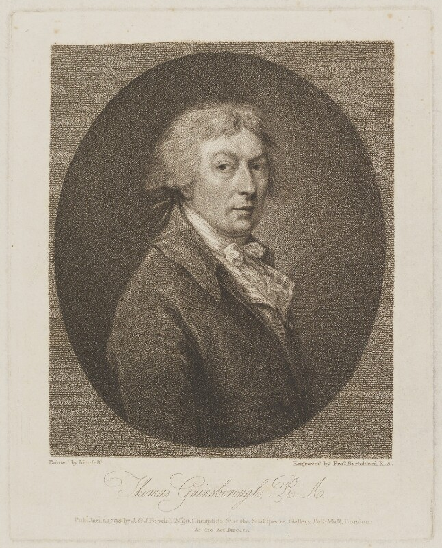 Thomas Gainsborough, by Francesco Bartolozzi, published by  John Boydell, published by  Josiah Boydell, after  Thomas Gainsborough, published 1 January 1798 (1787-1788) - NPG D34265 - © National Portrait Gallery, London