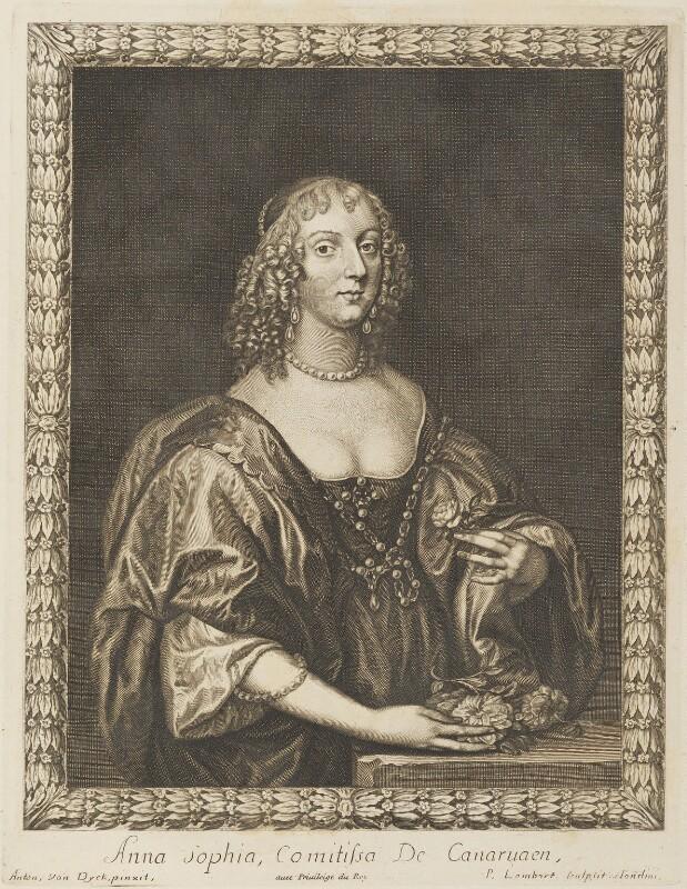 Anne Sophia Dormer (née Herbert), Countess of Carnarvon, by Pierre Lombart, after  Sir Anthony van Dyck, 1660s (circa 1635) - NPG D34301 - © National Portrait Gallery, London
