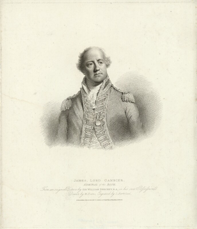 James Gambier, 1st Baron Gambier, by Gaetano Stefano Bartolozzi, published by  T. Cadell & W. Davies, after  William Evans, after  Sir William Beechey, published 12 February 1810 (probably 1808) - NPG D34274 - © National Portrait Gallery, London