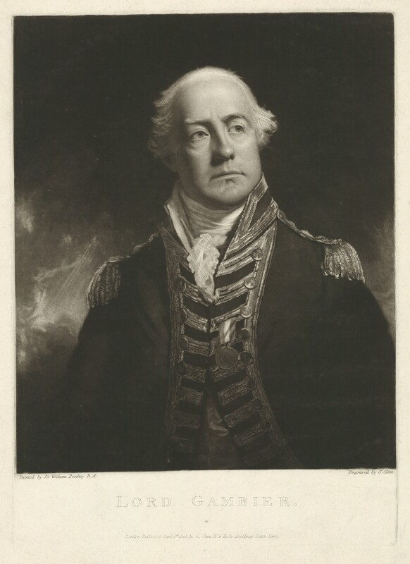 James Gambier, 1st Baron Gambier, by and published by George Clint, after  Sir William Beechey, published 2 September 1808 (probably 1808) - NPG D34275 - © National Portrait Gallery, London
