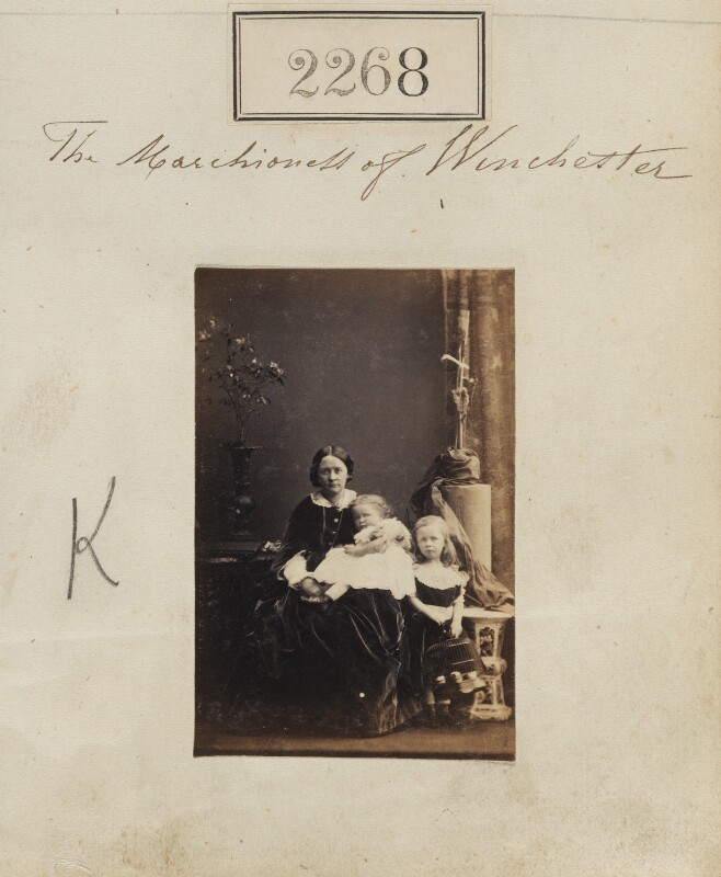 The Marchioness of Winchester with her two eldest children, by Camille Silvy, 28 February 1861 - NPG Ax51656 - © National Portrait Gallery, London