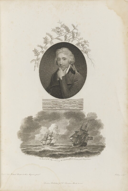 Sir James Edward Smith with 'The Pursuit of the Ship containing the Linnaean Collection', by William Ridley, published by  Robert John Thornton, after  John Russell, published 25 March 1800 - NPG D34334 - © National Portrait Gallery, London
