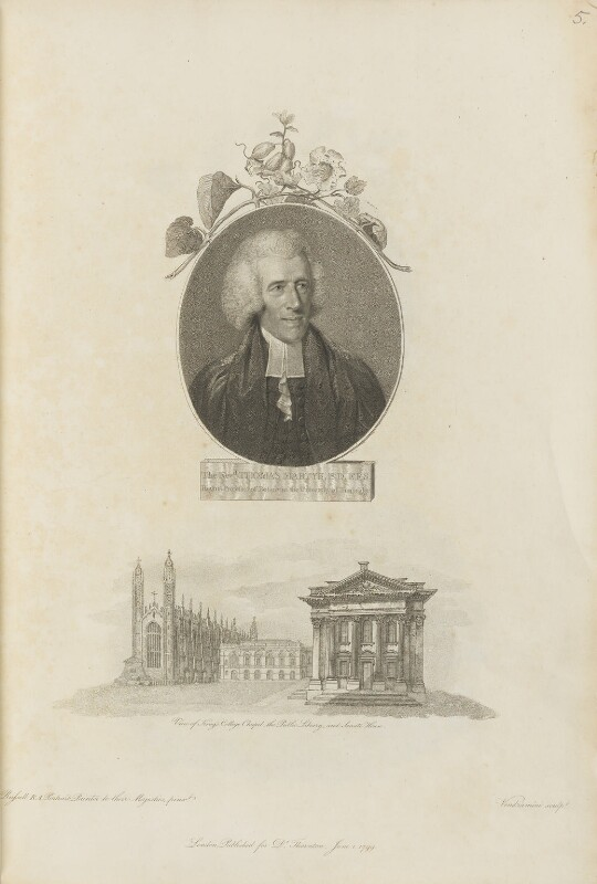 Thomas Martyn with 'View of King's College Chapel, the Public Library and Senate House', by Giovanni Vendramini, published by  Robert John Thornton, after  John Russell, published 1 June 1799 - NPG D34336 - © National Portrait Gallery, London