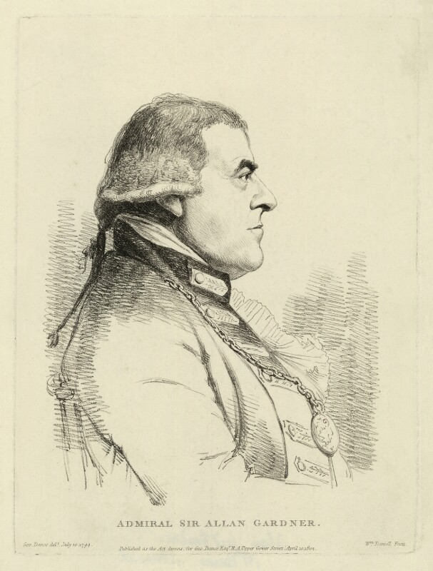 Alan Gardner, 1st Baron Gardner, by William Daniell, published by and after  George Dance, published 10 April 1802 (10 July 1794) - NPG D34278 - © National Portrait Gallery, London