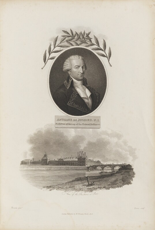 Antoine-Laurent de Jussieu with 'View of the Thuilleries at Paris', by William Evans, published by  Robert John Thornton, after  Charles Thevenin, and after  Thomas Girtin, published 1 March 1803 - NPG D34339 - © National Portrait Gallery, London