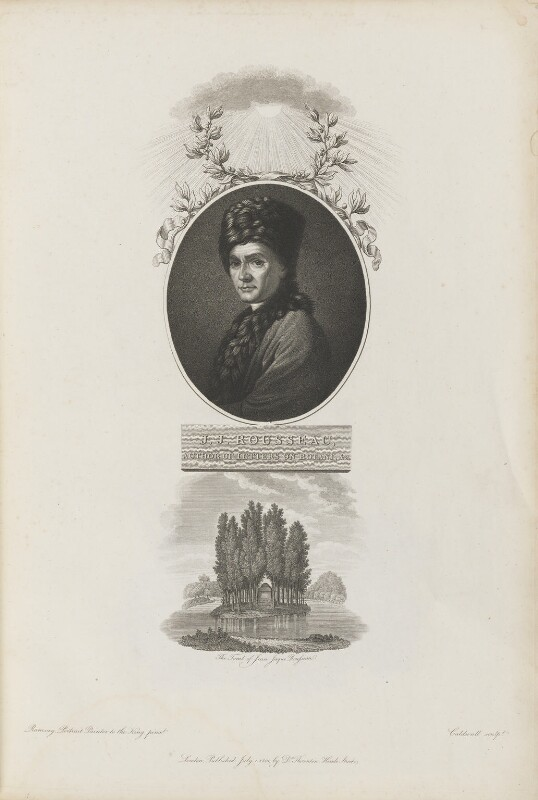Jean Jacques Rousseau with 'The Tomb of Jean Jaque Rousseau', by James Caldwall, published by  Robert John Thornton, after  Allan Ramsay, published 1 July 1801 - NPG D34340 - © National Portrait Gallery, London