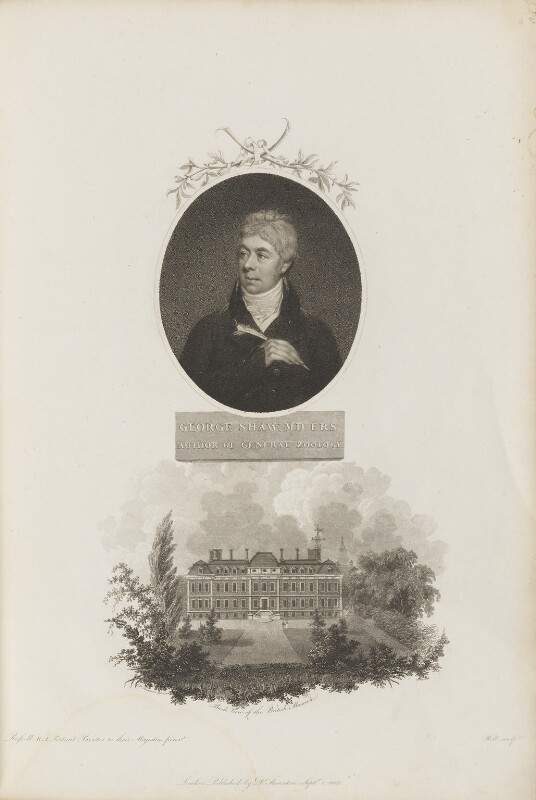 George Shaw with 'Back View of the British Museum', by William Holl Sr, after  John Russell, and by  E.W. Thomson, published by  Robert John Thornton, published 1 September 1803 - NPG D34342 - © National Portrait Gallery, London