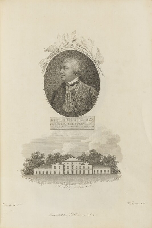 Sir John Hill with 'A View of the Royal Palace in Kew Gardens', by Giovanni Vendramini, published by  Robert John Thornton, after  Francis Cotes, published 1 November 1799 - NPG D34343 - © National Portrait Gallery, London