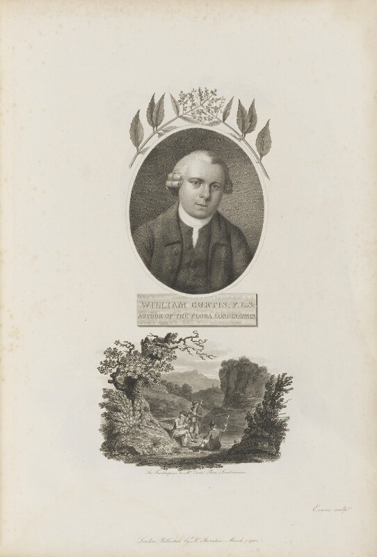 William Curtis with 'The Frontispiece to Mr Curtis' Flora Londinensis', by William Evans, published by  Robert John Thornton, published 1 March 1802 - NPG D34348 - © National Portrait Gallery, London