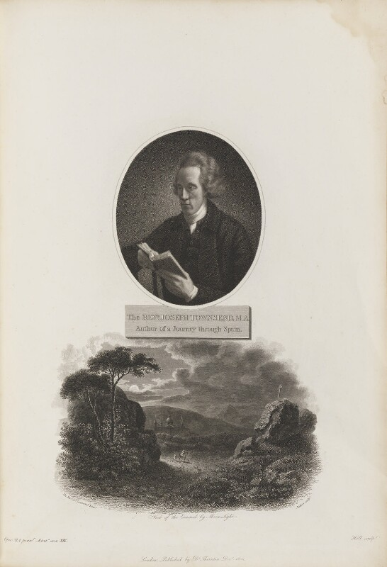 Joseph Townsend with 'View of the Escurial by Moon Light', by William Holl Sr, after  John Opie, and by  Thomas Milton, after  John Townsend, published by  Robert John Thornton, published December 1805 - NPG D34350 - © National Portrait Gallery, London