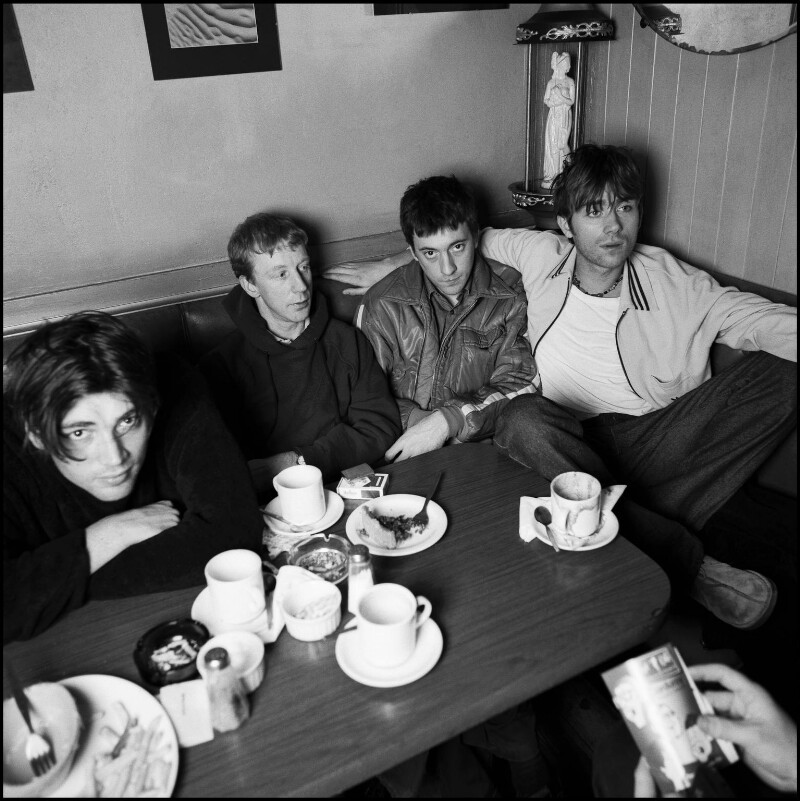 Blur (Alex James; Dave Rowntree; Graham Coxon; Damon Albarn), by Jillian Edelstein, December 1996 - NPG x132439 - © Jillian Edelstein / Camera Press