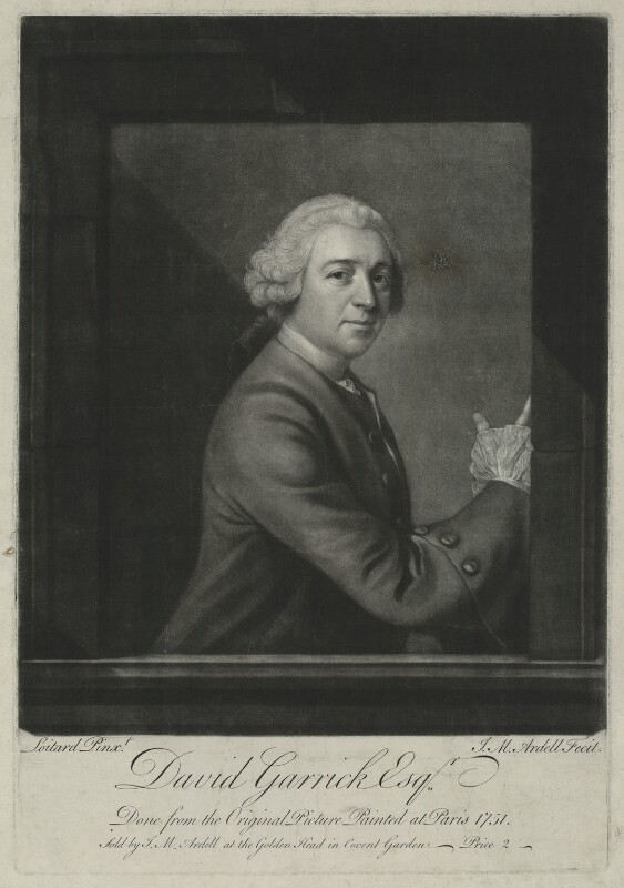 David Garrick, by and sold by James Macardell, after  Jean Etienne Liotard, (1751) - NPG D34373 - © National Portrait Gallery, London