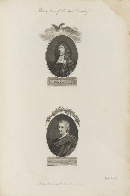 'Philosophers of the last Century' (John Mayow; John Evelyn), by James Caldwall, published by  Robert John Thornton, published 20 December 1800 - NPG D34358 - © National Portrait Gallery, London