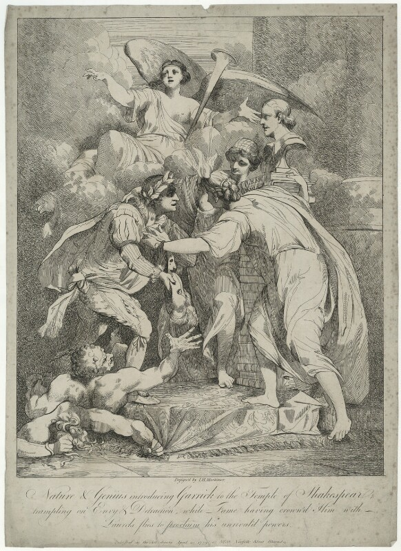 David Garrick ('Nature & Genius introducing Garrick to the Temple of Shakespeare'), by and published by John Hamilton Mortimer, published 21 April 1779 - NPG D34375 - © National Portrait Gallery, London