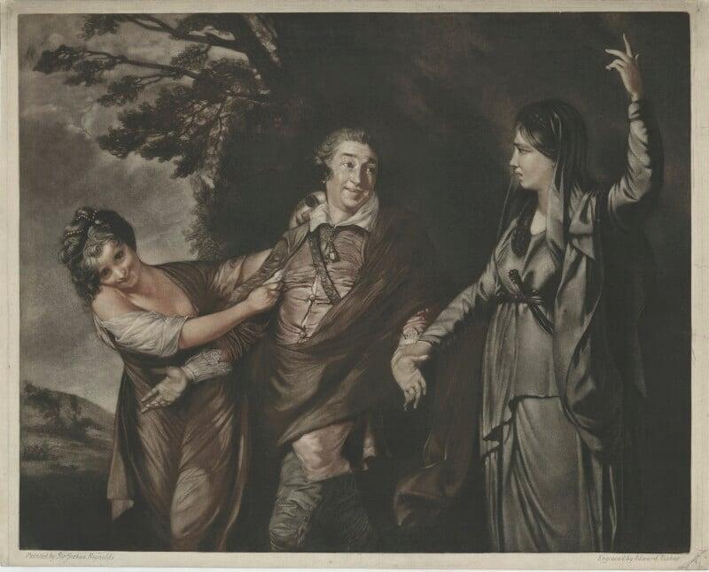 David Garrick ('Garrick between Comedy and Tragedy'), by Edward Fisher, after  Sir Joshua Reynolds, (1760-1761) - NPG D34376 - © National Portrait Gallery, London