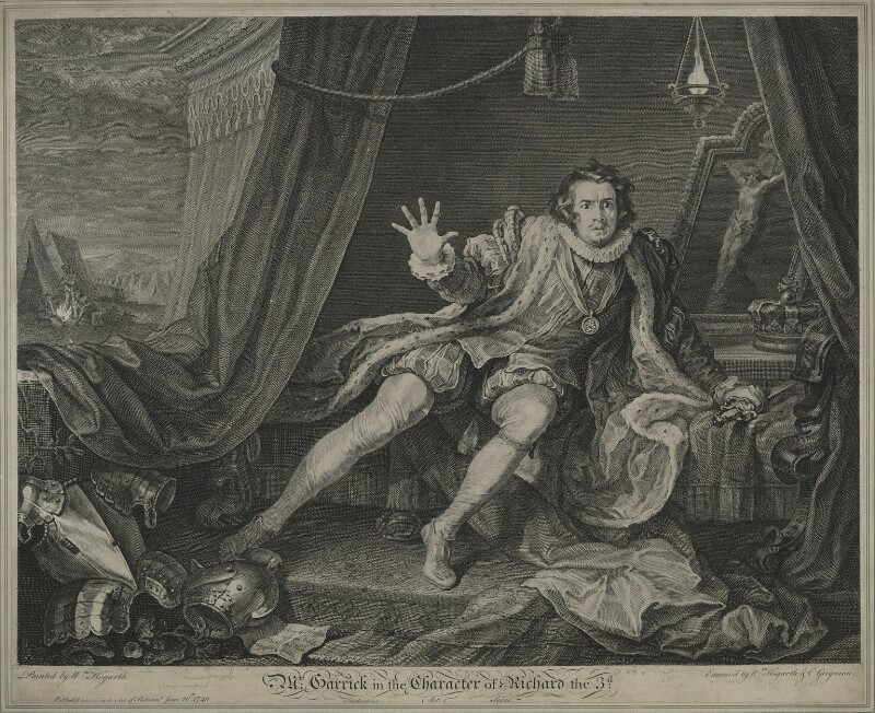 David Garrick ('Mr Garrick in the Character of Richard III'), by Charles Grignion, by and after  William Hogarth, published 20 June 1746 (1741) - NPG D34378 - © National Portrait Gallery, London