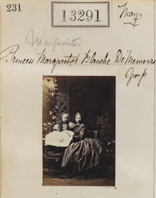 Princess Blanche d'Orléans; Princess Marguerite Adelaide d'Orleans, by Camille Silvy, 19 May 1863 - NPG Ax62924 - © National Portrait Gallery, London