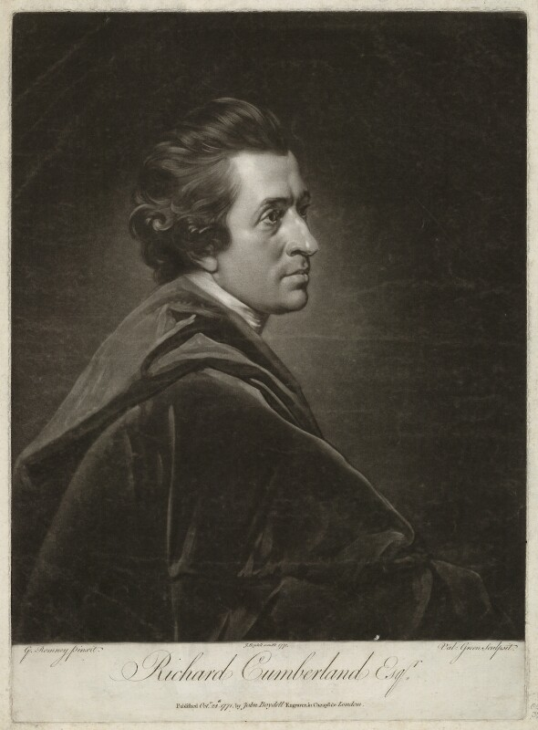 Richard Cumberland, by Valentine Green, published by  John Boydell, after  George Romney, published 1771 - NPG D34422 - © National Portrait Gallery, London