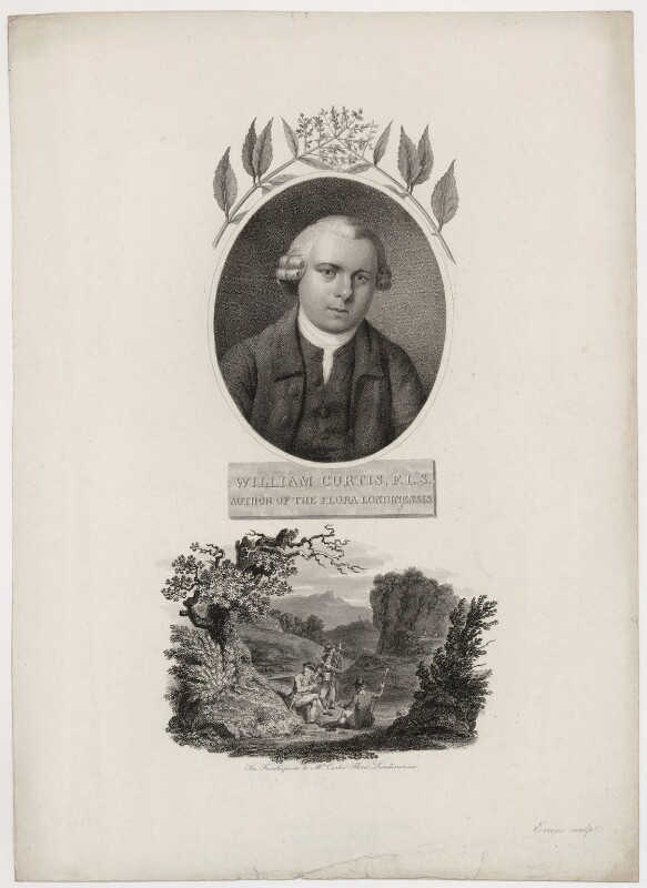 William Curtis with 'The Frontispiece to Mr Curtis' Flora Londinensis', by William Evans, published by  Robert John Thornton, published 1 March 1802 - NPG D34478 - © National Portrait Gallery, London