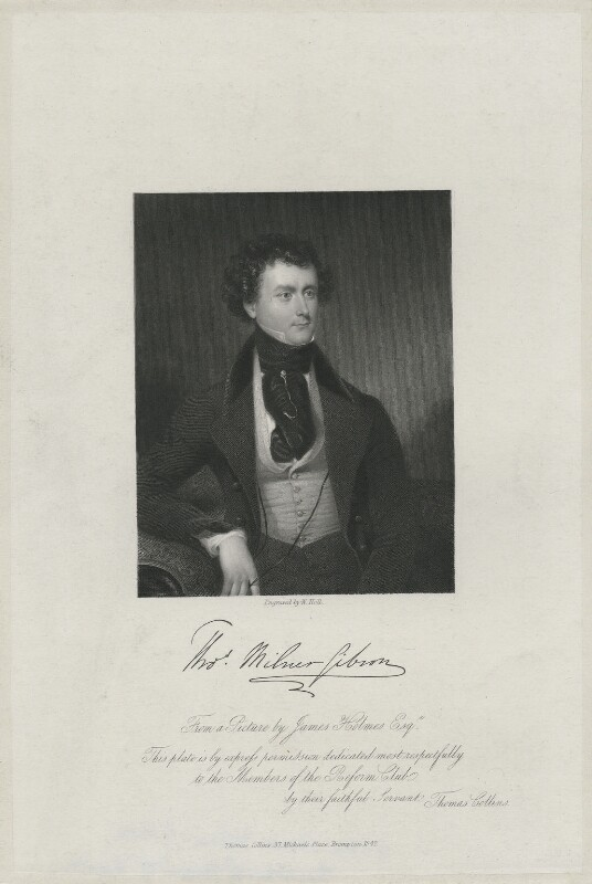 Thomas Milner Gibson, by William Holl Jr, published by  Thomas Collins, after  James Holmes, published 1842 - NPG D34464 - © National Portrait Gallery, London