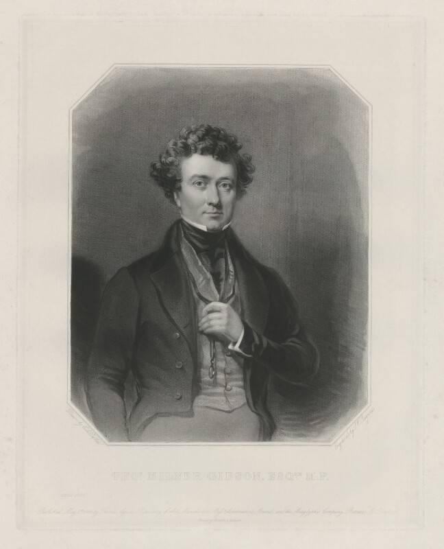 Thomas Milner Gibson, by Samuel William Reynolds Jr, printed by  Brooker & Harrison, published by  Thomas Agnew, published by  Rudolph Ackermann Jr, published by  Anaglyphic Company, after  Charles Allen Duval, 8 May 1844 (1843) - NPG D34465 - © National Portrait Gallery, London