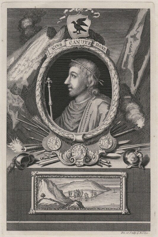 Canute or Cnut 'the Great', by George Vertue, published 1732 - NPG D9368 - © National Portrait Gallery, London