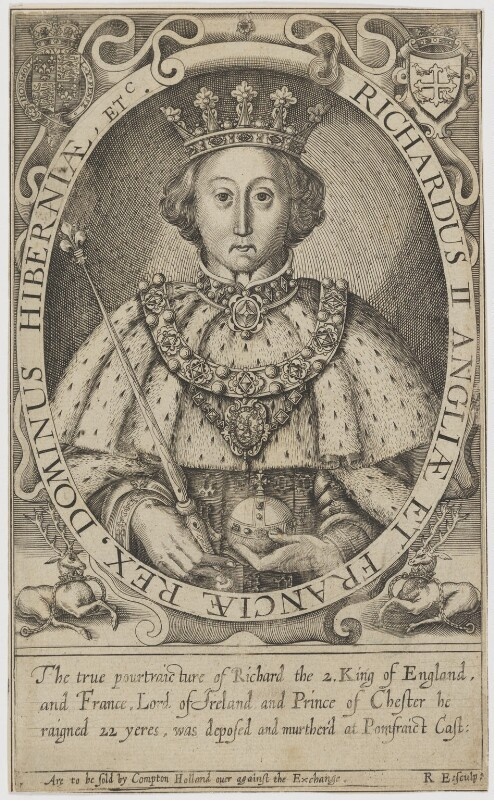 King Richard II, by Renold or Reginold Elstrack (Elstracke), after  Unknown artist, published 1618 - NPG D9386 - © National Portrait Gallery, London