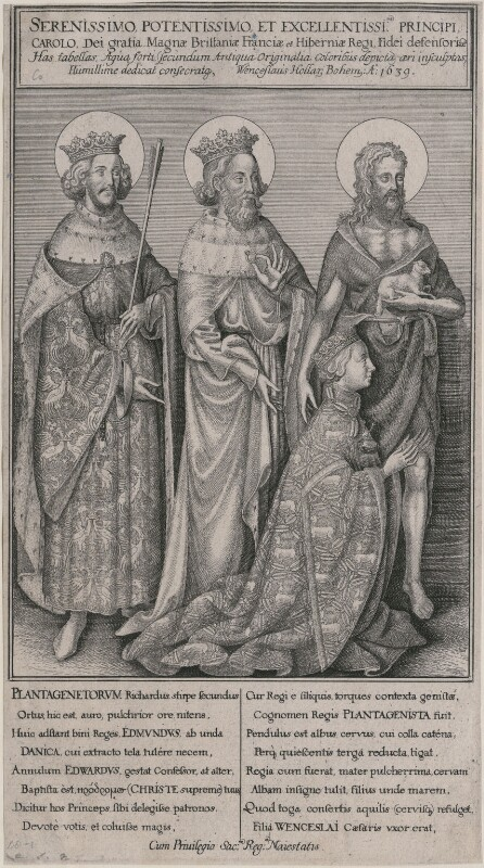 The Wilton Diptych (King Richard II), by Wenceslaus Hollar, after  Unknown artist, 1639 - NPG D9392 - © National Portrait Gallery, London