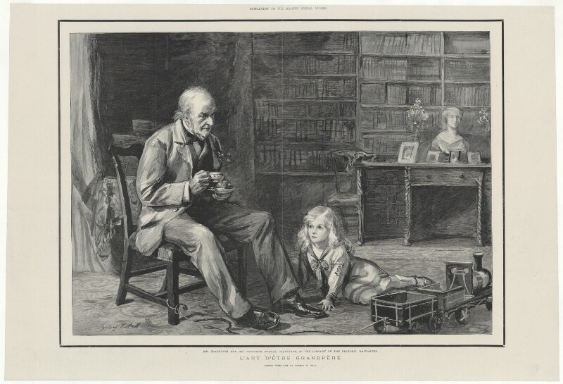 Mr Gladstone and his grandson, Deiniol Gladstone, in the library of The Rectory, Hawarden, after Sydney Prior Hall, 1890s - NPG D34517 - © National Portrait Gallery, London