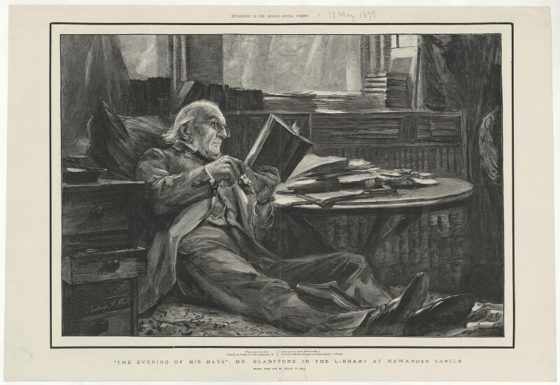 William Ewart Gladstone ('The evening of his days: Mr Gladstone in the library at Hawarden Castle'), after Sydney Prior Hall, published 19 May 1898 (1890s) - NPG D34518 - © National Portrait Gallery, London