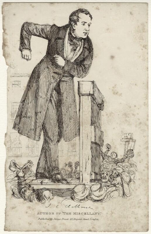 John Cam Hobhouse, Baron Broughton de Gyfford, published by James Fraser, after  Daniel Maclise, circa 1830-1838 - NPG D34573 - © National Portrait Gallery, London