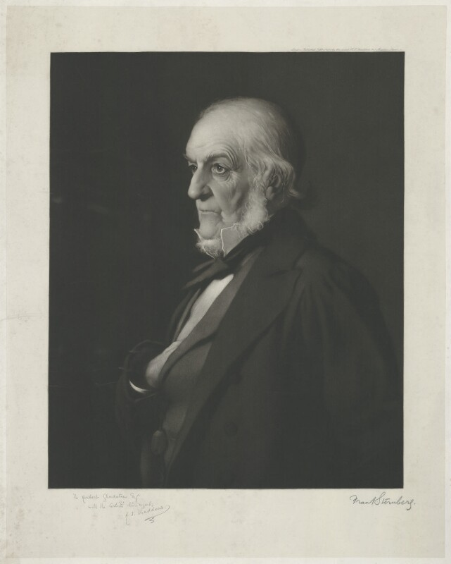 William Ewart Gladstone, by Frank Sternberg, published by and after  Henry Jones Thaddeus (Henry Thaddeus Jones), published 1 February 1889 (1888) - NPG D34528 - © National Portrait Gallery, London