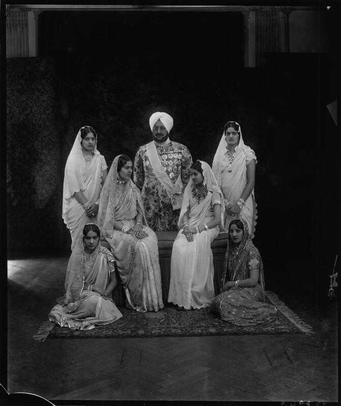 Sir Bhupindra Singh, Maharaja of Patiala with members of his family, by Vandyk, 24 January 1931 - NPG x130956 - © National Portrait Gallery, London
