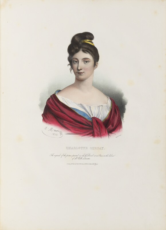 Marie Anne Charlotte Corday d'Armont, by Antoine Maurin, printed by  François Le Villain, published by  Edward Bull, published by  Edward Churton, after  Jacques Louis David, 1834 - NPG D34623 - © National Portrait Gallery, London